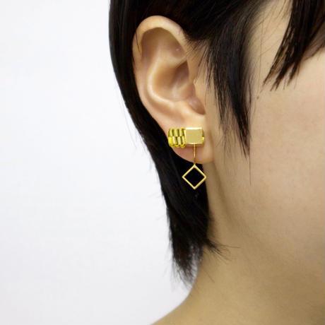 Cube / Crip on Earring Gold イヤリング(single)