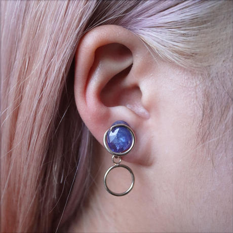 Circle / Clip on Earring Tanzanite イヤリング (single)