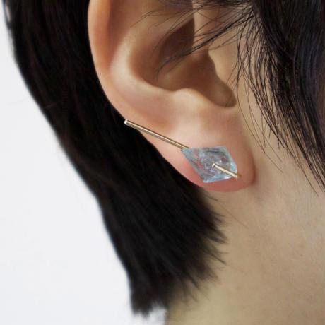Line / Pierced Earrings  Lepidocrocite in quartz  ピアス(single)