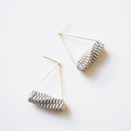Triangle/  Pierced Earrings Gray  ピアス