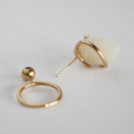Circle / Pierced Earring Crystal Agate  ピアス(single)