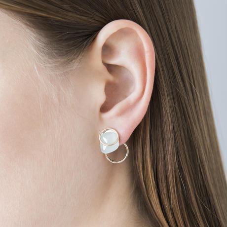 Circle / Pierced Earring Rainbow Moon Stone2ピアス