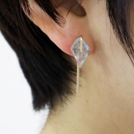 Line / Pierced Earrings  Inclusion Quartz ピアス(single)
