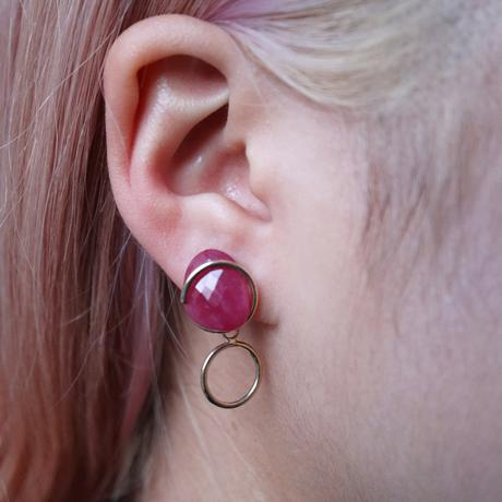 Circle / Clip on Earring  Ruby 2 イヤリング (single)