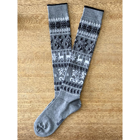 Kikucönia*Muhu民族靴下柄ニーソックス【Gray】