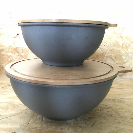 EcoSouLife / Medium Salad Bowl with Bamboo Cutting Board Lid  #Charcoal