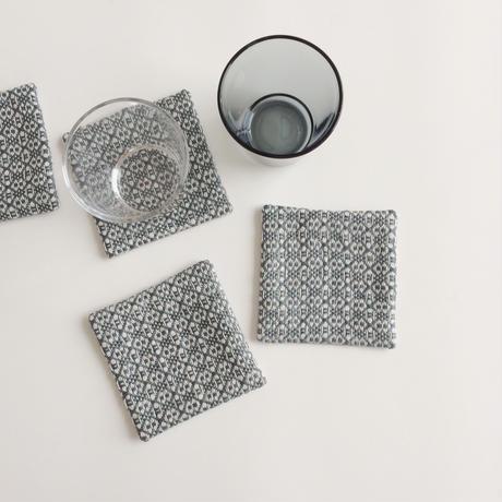 手織りコースター ( Coaster Flower Linen grey)