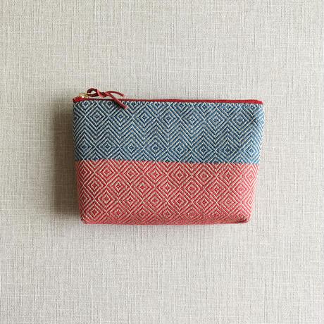 手織り布メイクポーチ ( Make up Bag  bird's-eye&herringbone)