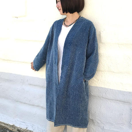 L~3Lサイズ、刺し子のヘンプローブコート、ロングコート、羽織コート