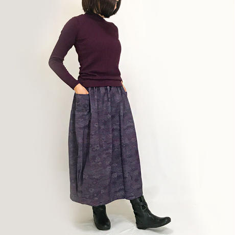 きものリメイクのロングスカート、バルーンスカート、パープル