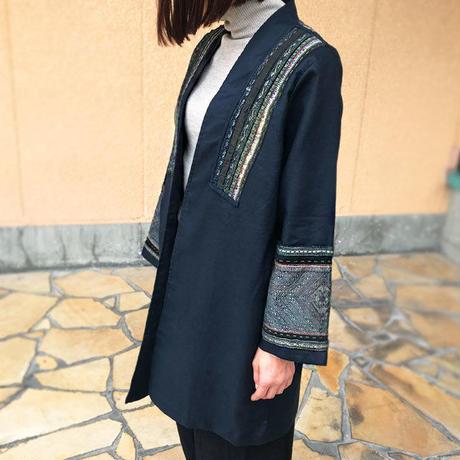 藍染上質ヘンプ、民族刺繍古布のリメイク創作ジャケット