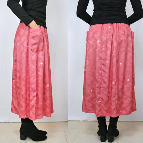 きものリメイク、可愛いイチゴ赤の正絹ちりめんロングスカート