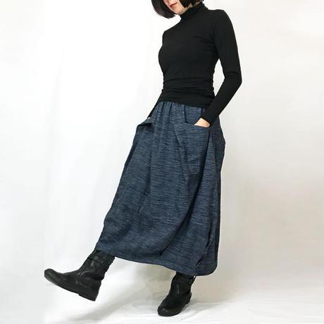 人気再販★手織り綿絣インディゴ染め、バルーンスカート、オールシーズン