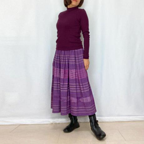 手織り綿絣ロングスカート、菫色ボーダー柄、オールシーズン