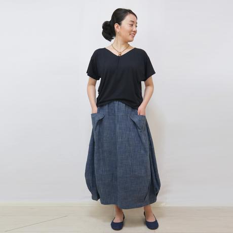人気再販★手織り綿絣インディゴ、バルーンスカート、オールシーズン