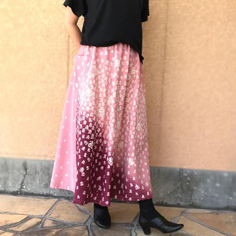 きものリメイクロングスカート、ロング丈、桃色(ピーチピンク)寿柄、オールシーズン