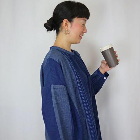 再販☆手織り綿絣、プラスサイズのインディゴ染めワンピース