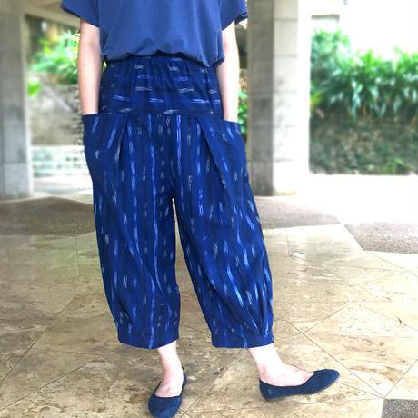 M~XL対応、ジョムトン手織り綿の絣織りもんぺパンツ、オールシーズン