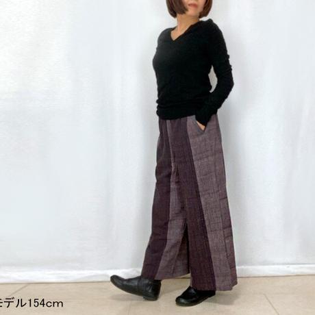新色★サイズが選べるすっきり脚長シルエットの手織綿ロングパンツ、パープル織