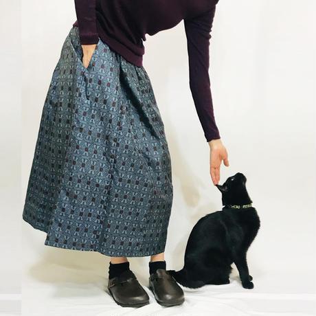きものリメイクのロングスカート、色大島