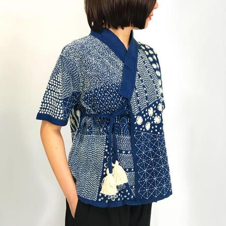 美しい刺し子刺繍のヘンプカーディガン、カシュクールブラウス