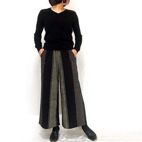 再販★すっきり脚長シルエットの手織綿ロングパンツ、ブラックストライプ