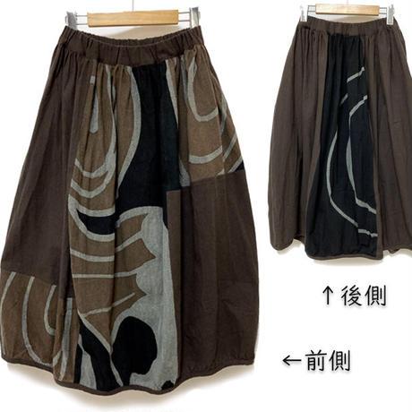 再10!草木染め、墨、マクア染の手描きバルーンスカートB、フリーサイズ