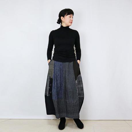 手織り綿絣、後ろ姿も可愛いパッチワークロングスカート、オールシーズン