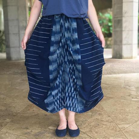 手織り綿、絣織り変わりロングスカート、オールシーズン
