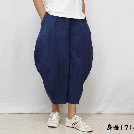 高身長女子にもお勧め!藍染め手織綿の柔らかバルーンパンツ、フリーサイズ