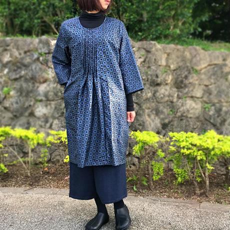 きものリメイク、大島紬、長袖チュニック、オールシーズン