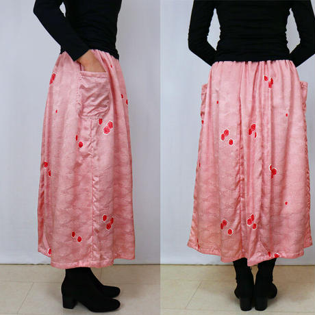 きものリメイク、正絹小紋ロングスカート裏地付き