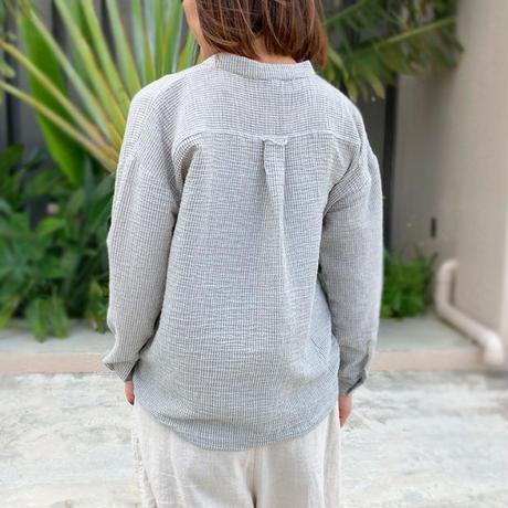 新色!2サイズ、体型カバー裾ねじりコットンクレープ長袖ブラウス、グレートライプ