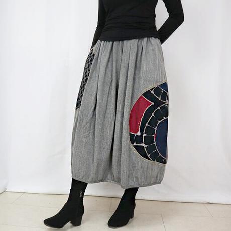 再販☆草木染め、手描染め刺繡入りコットンバルーンスカート、フリーサイズ