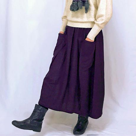 再3☆至福の肌さわり、しっとり最上質ヘンプのバルーンスカート、濃い菫色、オールシーズン