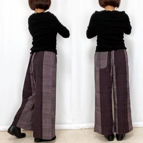 新色★サイズが選べるすっきり脚長シルエットの手織綿ロングパンツ、ブラウンストライプ