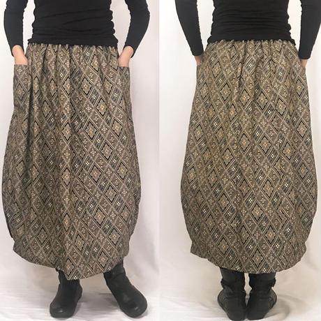 物リメイク,80cm丈朱子織バルーンロングスカート、幾何学柄