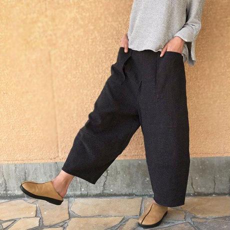 再6、刺し子織りコットンドット模様のもんぺパンツ、ゆったりサイズ、オールシーズン