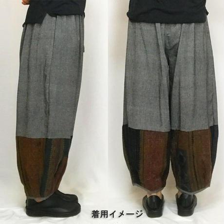 M~LLサイズ、ジョムトン手織り綿のもんぺ、モン刺繍付きパンツ、グレー