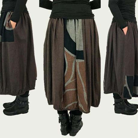 再11!草木染め、墨、マクア染の手描きバルーンスカート、フリーサイズ