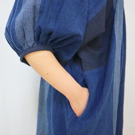 手織り綿絣、プラスサイズのインディゴ染めワンピース