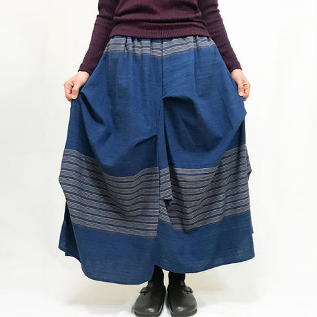 藍染め手織り綿の変わりロングスカート、フリーサイズ