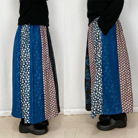 一点物!きものリメイクのパッチワークロングスカート、裏地付き、オールシーズン