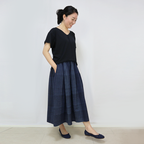 新色☆手織り綿絣ロングスカート、インディゴチェック、オールシーズン