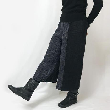 ゆったりサイズ、ジョムトンコットンのワイドパンツ、ブラックXグレーミックス