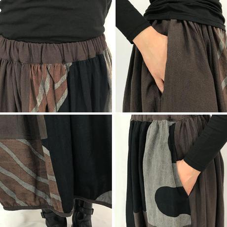 再13☆草木染め、墨、マクア染の手描きバルーンスカートA、フリーサイズ