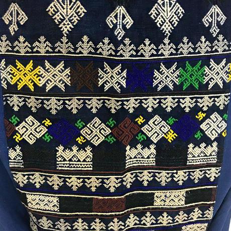藍染め、手織り綿のロングサルエルパンツ、ヤオ族刺繍付き、オールシーズン可