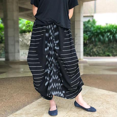 再販!手織り綿、絣織り変わりロングスカート、オールシーズン