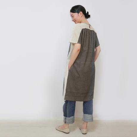 手織り綿パッチワークの涼しい半袖ロングチュニック、ベージュミックス