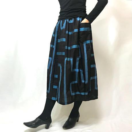 きものリメイクのロングスカート、バルーンスカート、銘仙、ブラック